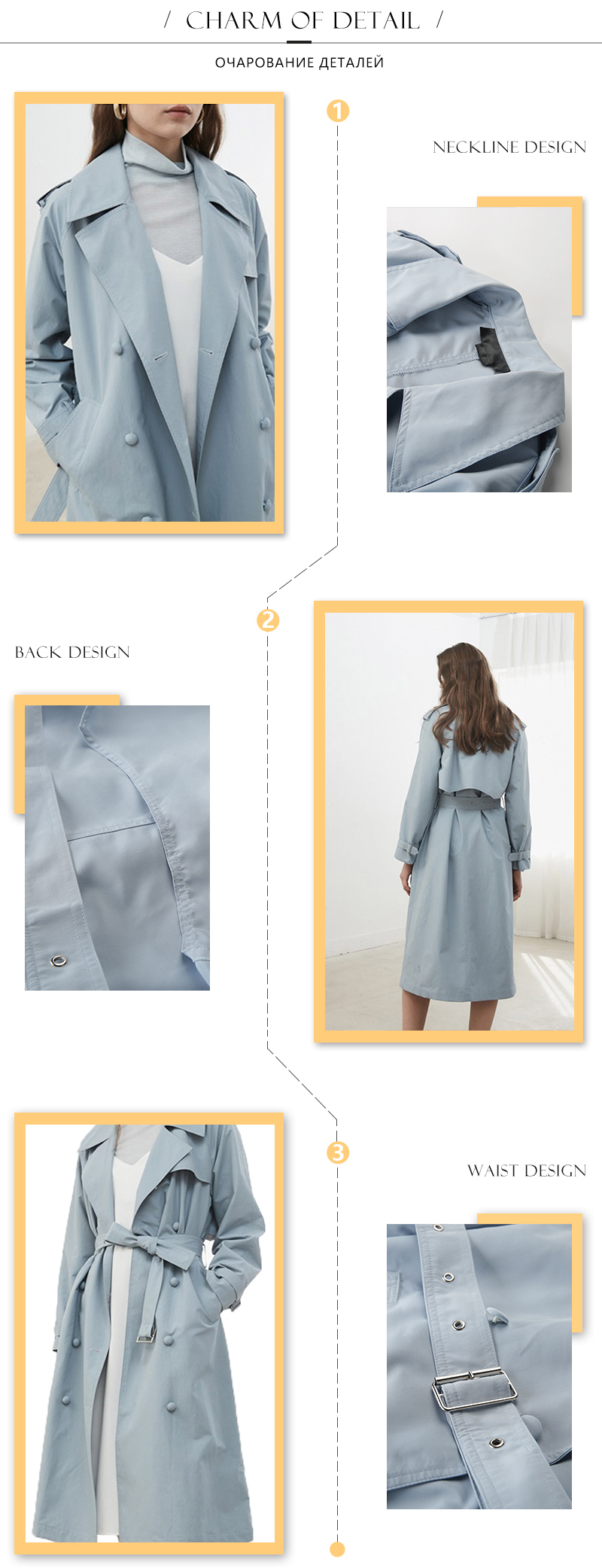HDY Haoduoyi Women Casual Solid Color Double Breasted Outwear Sashes Office Coat Chic Epaulet Design Long Trench Coat Autumn 7