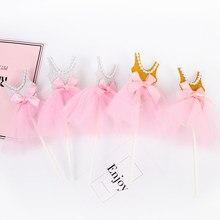 Decoración de magdalenas de cumpleaños para niñas, vestido de princesa brillante, tarjeta de Cupcake, suministros de fiesta de boda y cumpleaños, 5 uds.