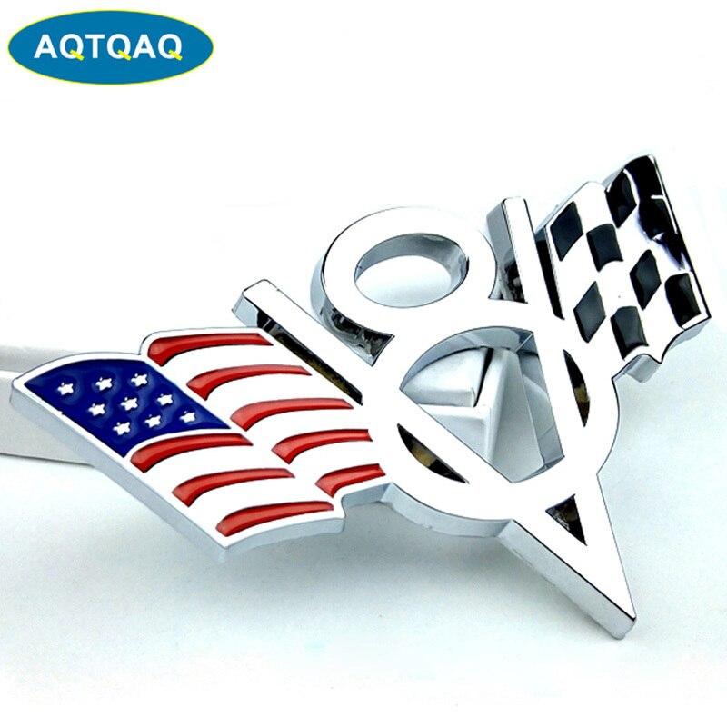 AQTQAQ 1 Uds 3D Metal V8 US bandera coche pegatina Logo emblema insignia coche Styling Sticker, traje para todos los coches, decoraciones de coche sickers