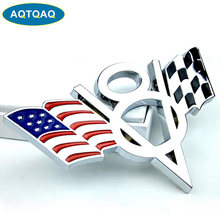 AQTQAQ 1 stücke 3D Metall V8 UNS Flagge Moto Auto Aufkleber Logo Emblem Abzeichen Auto Styling aufkleber, anzug für alle auto, auto dekorationen sickers