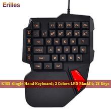 Одной рукой игровая клавиатура с 38 клавишами геймер механические с подсветкой одной рукой мини-клавиатура проводная для портативных ПК про PUBG