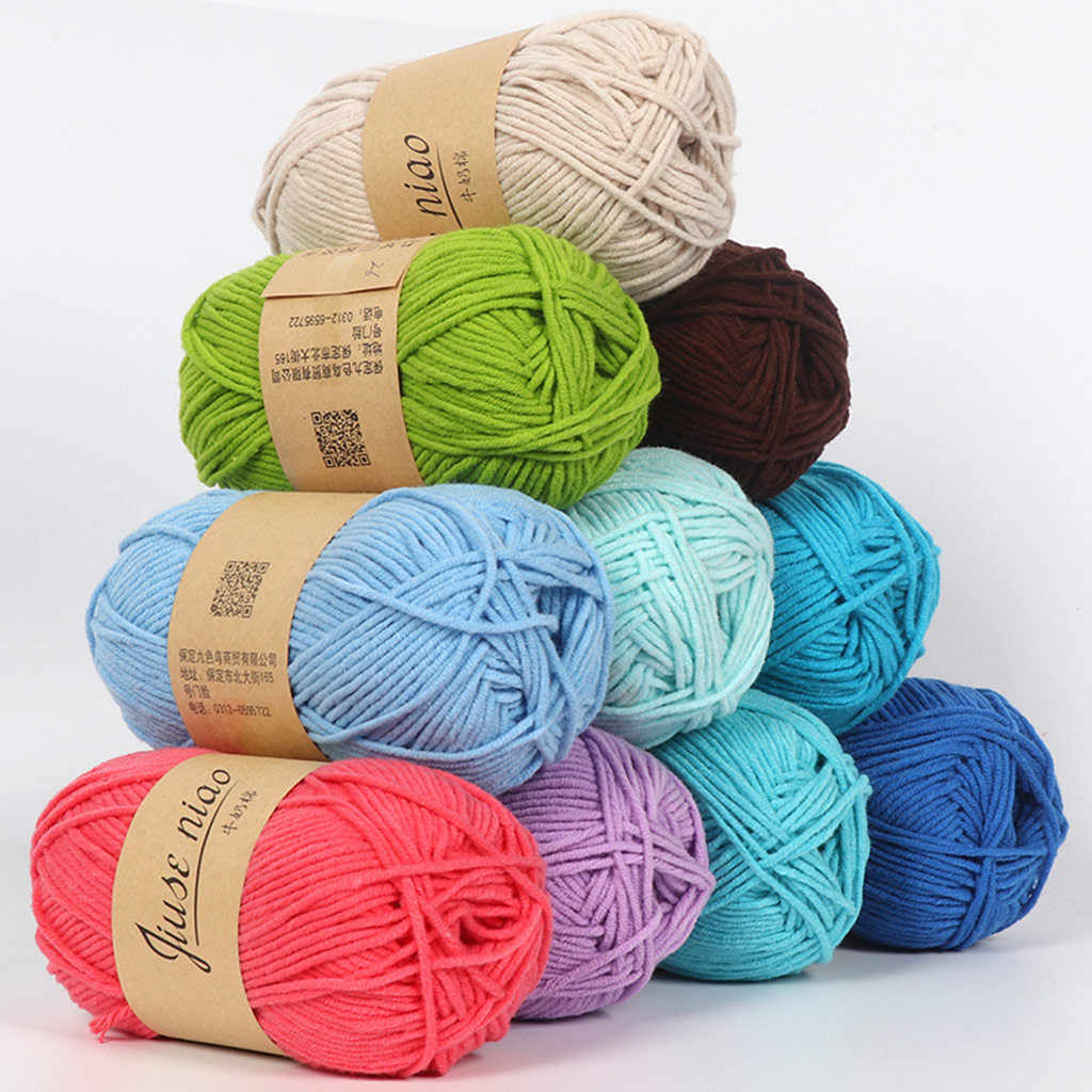 Wool Yarn Colorful 5 Strands Of Milk And Cotton 200g DIY Wool Skin-friendly Soft Milk Cotton Thick Baby Doll Crochet Scarf Line