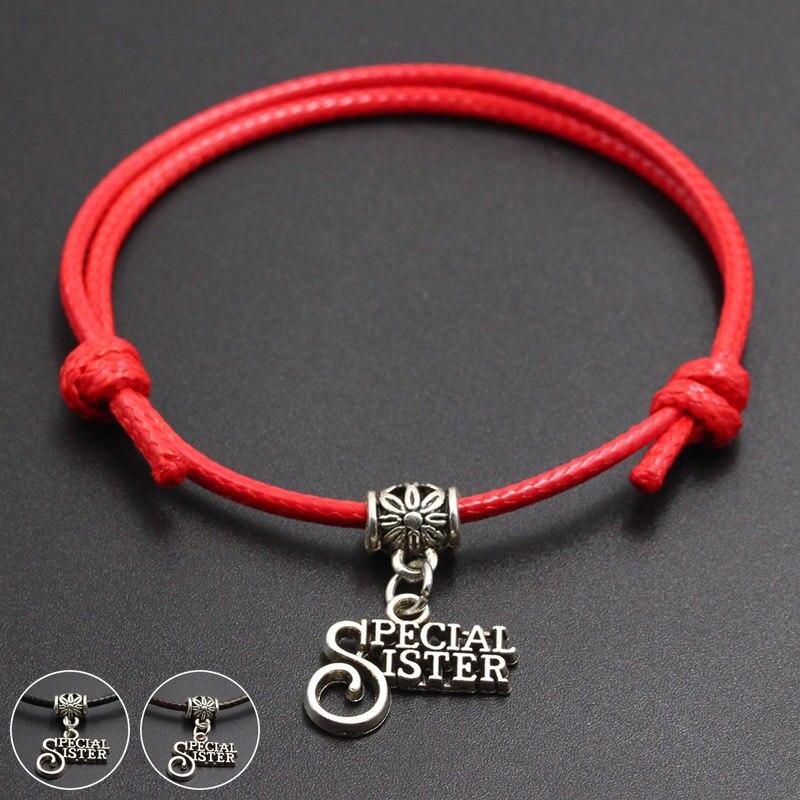 New Special Sister Pendant Red Thread String Bracelet Lucky Handmade Rope Charm Bracelet for Women Men Lover Couple Jewelry
