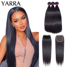 Human-Hair-Bundles Closure Straight Yarra with Peruvian Lace Free-Part Remy Pre-Plucked
