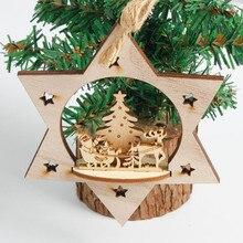 Снежинка деревянные украшения деревенский Рождественский Санта Клаус Снеговик Дерево Игрушка Кукла Висячие украшения Рождественские украшения для дома#5