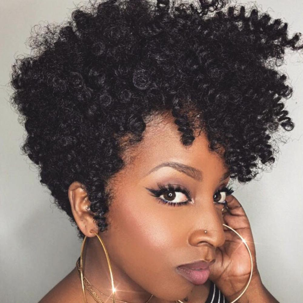 BMTT Black Synthetic Curly Wigs For Women Short Afro Wig African American Natural Hair Wigs Woman Kinky Hair