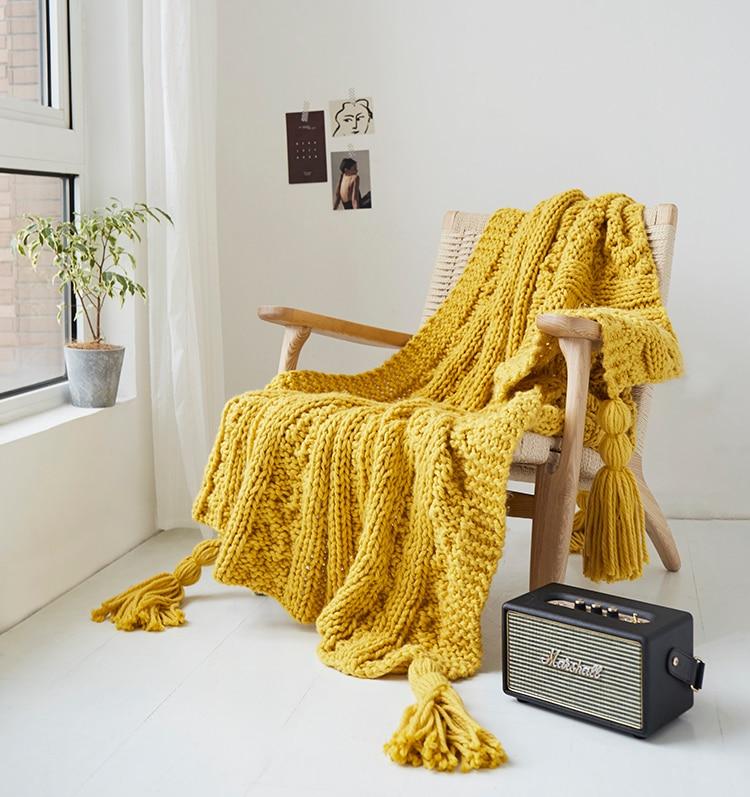 Oversized Tassel Fringe Throw Blanket Design Soft Warm 50x70 Bed Sofa NEW!