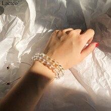 Lacteo Simple Minimalist Colorful Rope Bracelet Bangle for Women Fashion Transparent Beading Chain Charm Female Jewelry
