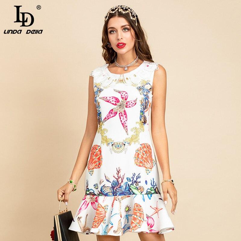 LD LINDA DELLA New 2021 Summer Fashion Runway Elegant Short Dress Women Peter pan Collar Printed Mermaid Ruffles Dress vestidos