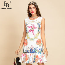 LD LINDA DELLA New 2021 Summer Fashion Runway elegante abito corto donna Peter pan colletto stampato sirena increspature abito abiti