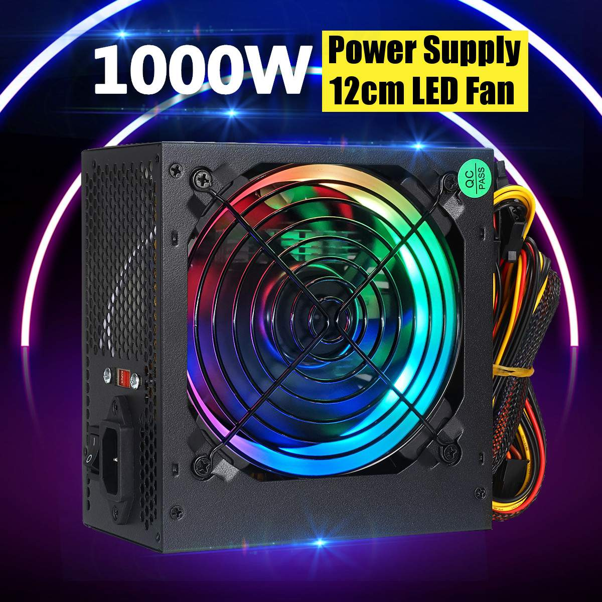 Max 1000W Power Supply PSU Silent 12cm LED Rgb Fan ATX 24pin 12V PC Computer SATA Gaming PC Power Supply For Intel AMD Computer