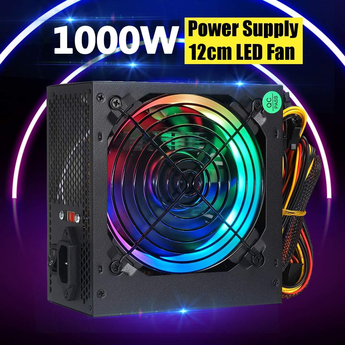 Max 1000W Power Supply PSU Silent 12cm LED Rgb Fan ATX 24pin 12V PC Computer SATA Gaming PC Power Supply For Intel AMD Computer
