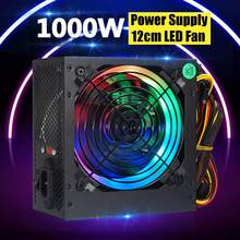 Max 1000W alimentation PSU silencieux 12cm LED rgb ventilateur ATX 24pin 12V PC ordinateur SATA Gaming PC alimentation pour ordinateur Intel AMD