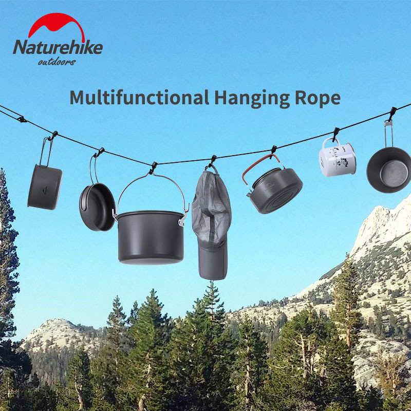 Naturehike 4.3m Hanging Rope Camping Accessories Multi-purpose Clothesline Adjustable Anti-slip Canopy Hanging Rope