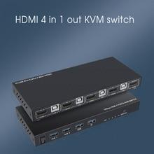Kebidu Typ-C Interface 4K HDMI-kompatibel Vier-in-one-out Maus und Tastatur USB Sharer 2/4 Port KVM Switcher