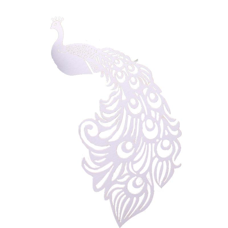 25 шт./лот лазерная резка Павлин вина стеклянная карта декоративная бумага для вечеринок Место Карты Свадебные украшения для винтажных свадебных сувениров - Цвет: White