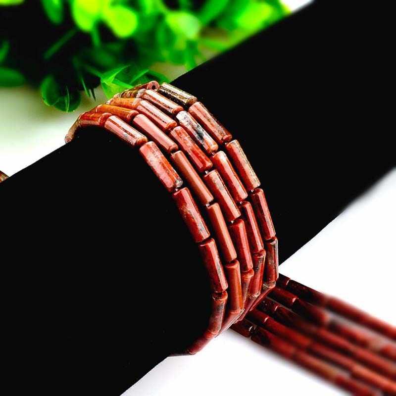 4*13 мм натуральный камень redt Jaspers колонна трубки бусины для рукоделия для изготовления украшений вручную браслет ювелирные аксессуары