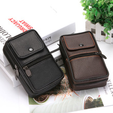 BISI GORO Multi-function outdoor phone coin men waist bag on the belt Wear-resistant heuptas heren pu leather Travel purse