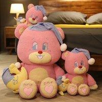 ピンクテディベア抱擁人形のおもちゃ女の赤ちゃんの睡眠摩耗帽子ムーン枕ユニークな抱擁ギフトのおもちゃ誕生日