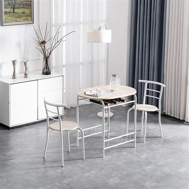80x53x76cm Oak White Breakfast Table Set  6