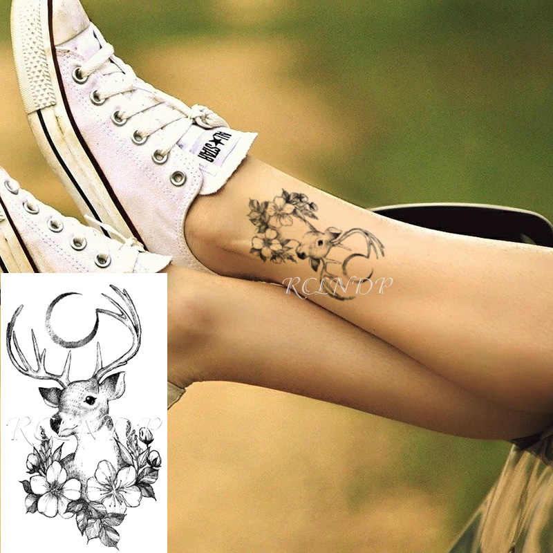 Su geçirmez geçici dövme etiket geyik ay çiçek desen vücut sanatı küçük boyutlu flaş dövme sahte dövme çocuklar erkekler kadınlar için