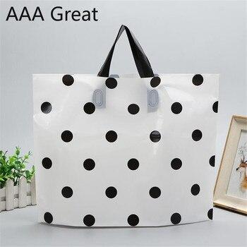 50Pcs/Lot Supermarket Shopping Bag Plastic Bags Handle Snack Boutique Clothing Milk Tea Packing Dots Christmas Clothes Pouches