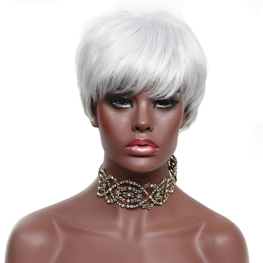 Short Bob Wigs For Black Women White Gray Hair Wig Synthetic Female Straight High Temperature Fiber For The White