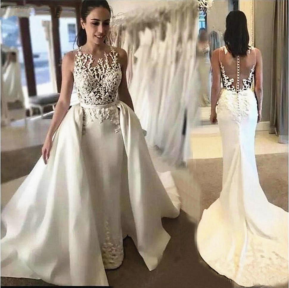Mermaid Wedding Dress With Detachable Overskirt Removable Trail Sheer Neck Lace Satin 2 Pieces Vestido De Noiva Bridal Gowns