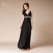 Sexy V-neck Evening Dresses Long Black Formal Dress Women Elegant Backless A-line Prom Party Turkish Event