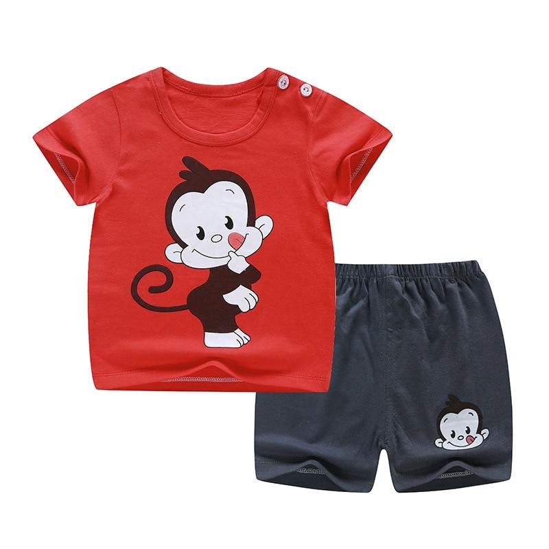 2020 Brand Designer Clothes For Boy Girl Clothing Set Monkey Print Short Sleeve Tops + Shorts Toddler Suits Baby Set