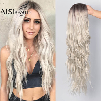 AISI BEAUTY Long Wavy Womens Wig Natural Part Side Hair Ombre Synthetic Wigs Platinum/Blonde/Black Heat Resistant for Women