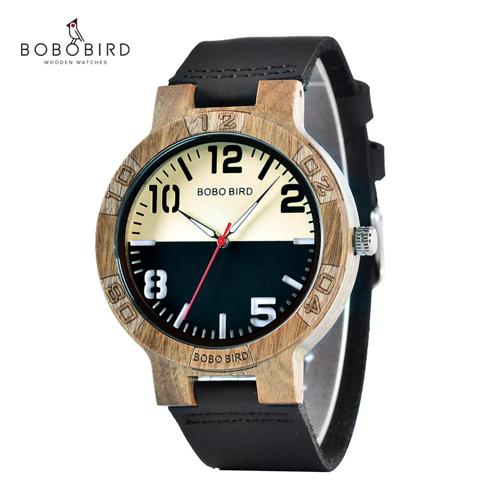 BOBO BIRD Casual Wood Watches For Men Top Brand Luxury Leather Wrist Watch Man Clock Fashion Wristwatch Relogio Masculino OEM