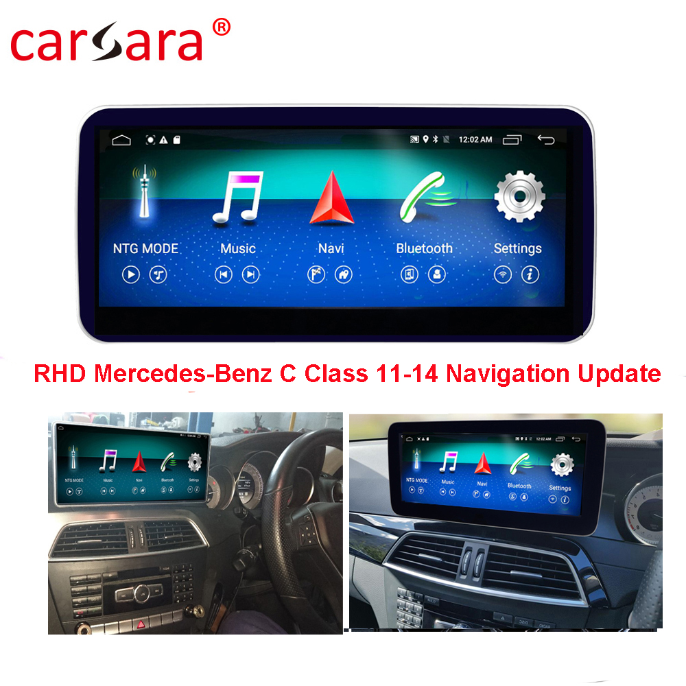 <font><b>RHD</b></font> Mercedes Navigation Update <font><b>W204</b></font> 11-14 <font><b>Android</b></font> Carplay Aftermarket Multimedia DVD Player for C Class Video Console Facelife image