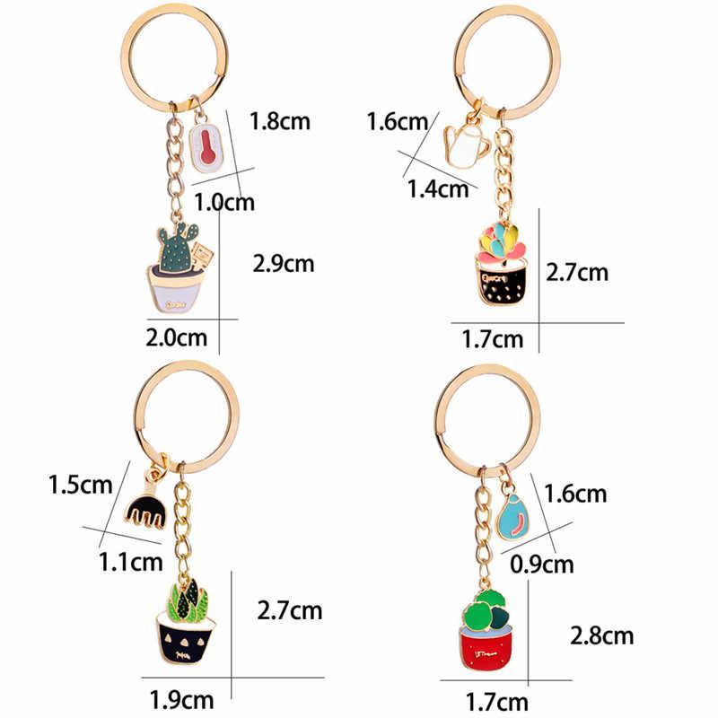 ใหม่แคคตัสพวงกุญแจกระถางต้นไม้รูปแบบกระเป๋าถือ Key Ring Key CHAIN จี้ Cactus Lover ของขวัญ