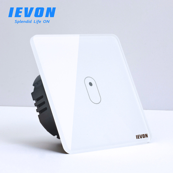 цена на IEVON 1 gang 1 way touch switch, 80mm gray EU standard Wall light switch, white Glass panel 2 gang touch Sensor wall switch