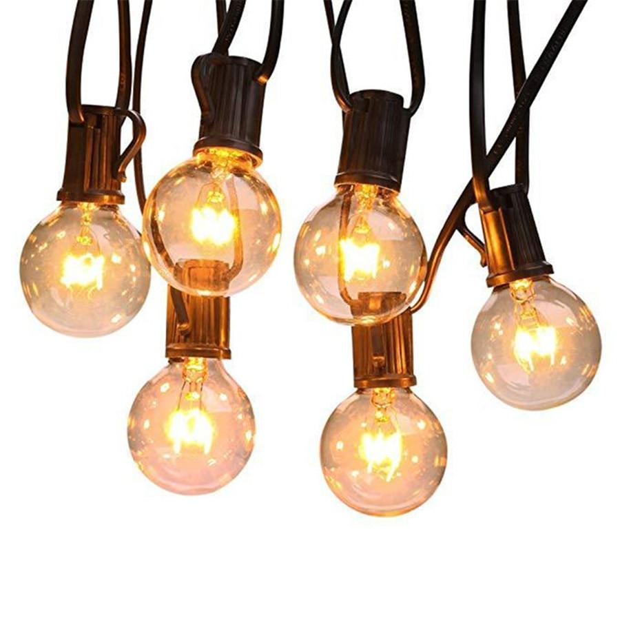 beiaidi 25ft g40 globo luzes da corda do bulbo claro bola do vintage de fadas string
