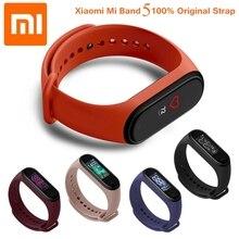 원래 Xiaomi Mi Band 4 스트랩 밴드 5 실리콘 팔찌 팔찌 Xiaomi Mi band 3 4 Miband 5 핑크 손목 스트랩 Xiomi Mi Band 5