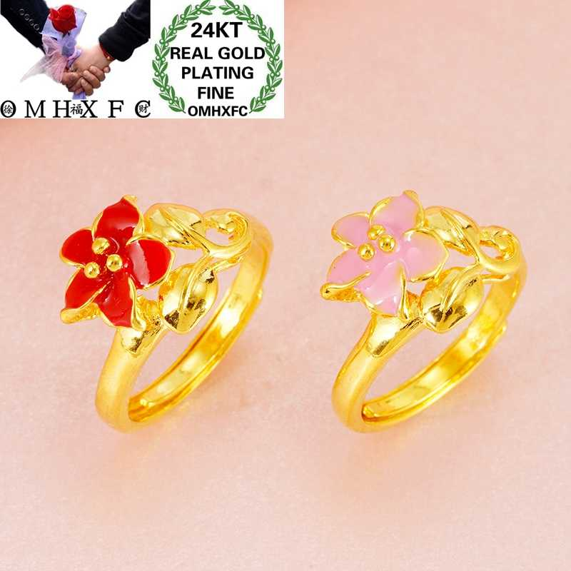 OMHXFC Jewelry Wholesale RI256 European Fashion Hot Fine Woman Girl Party Birthday Wedding Gift Flower 24KT Gold Resizable Ring