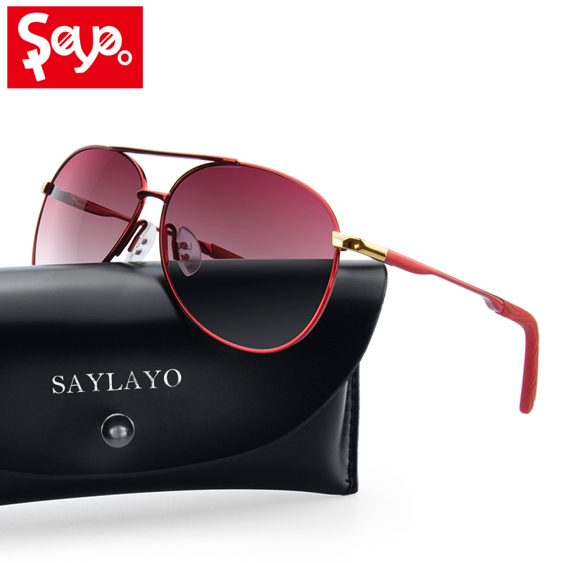 SAYLAYO 2020 New Luxury Women <font><b>Sunglasses</b></font> Aviation Style Sun Glasses Gradient Shades Polarized Lens For Ladies UV400 Protection image