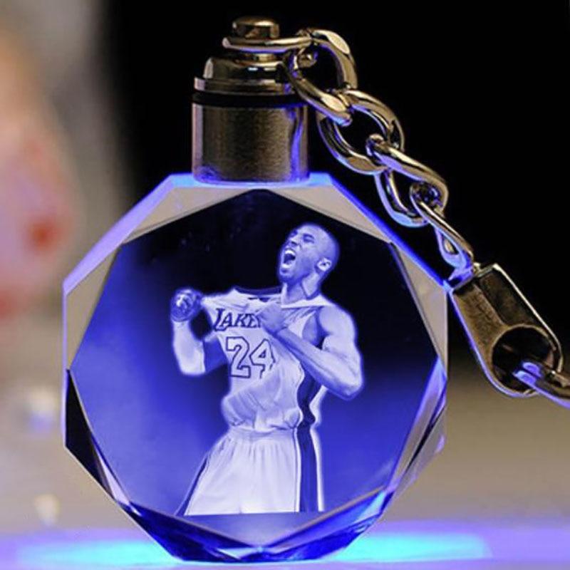 2020 Birthday Gift Crystal Inner Keychain Personality Photo LOGO Wedding Gift Customized /Kobe/Jordan/Colorful Glowing Pendant.