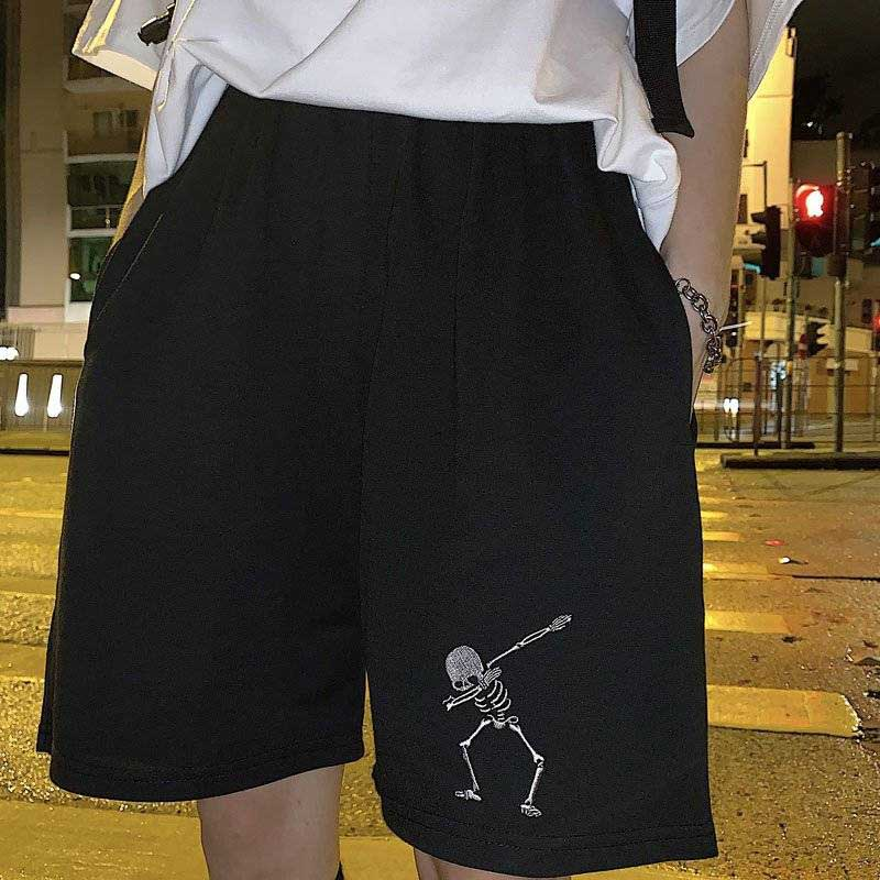 Cale Cotton Skeleton Embroidered Shorts Harajuku BF Casual Students Sports Shorts Unisex Fashion