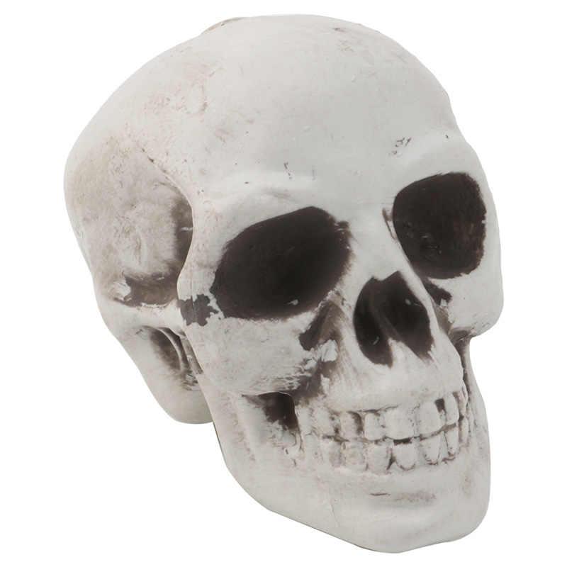 Plástico humano Mini cráneo decoración Prop esqueleto cabeza Halloween barras de café ornamento 72XF