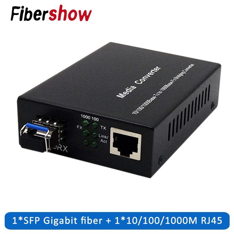 Fiber Optical Media Converter 1 Port Sfp To 1 Rj45 Gigabit Optical Fiber Ethernet For Ip Camera 10/100/1000M