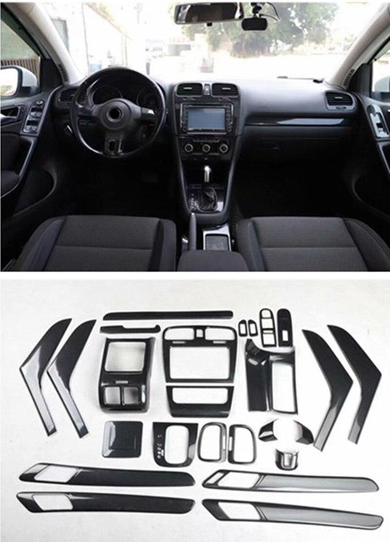 1lot Car Stickers ABS Black Carbon Fiber Grain Inside Decoration Cover For 2009-2013 Volkswagen VW Golf 6 MK6