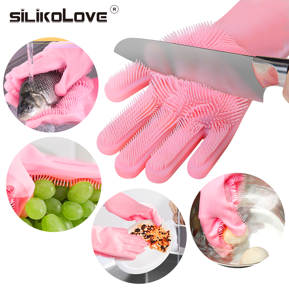 SILIKOLOVE Magic Silicone Dish Washing Gloves Kitchen Accessories Dishwashing Glove Household Tools For Cleaning Car Pet Brush