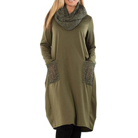 Oversize Casual Autumn Dress Women Winter Sequins Scarf Collar Basic Tunic Ladies Army Green Plus Size Dresses Long Sleeve 2019