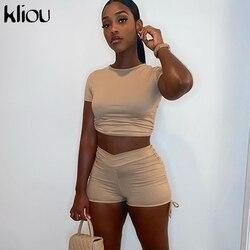 Kliou women 2 piece outfit short sleeve drawstring backless crop top+biker shorts matching set fitness sporty streetwear bodycon