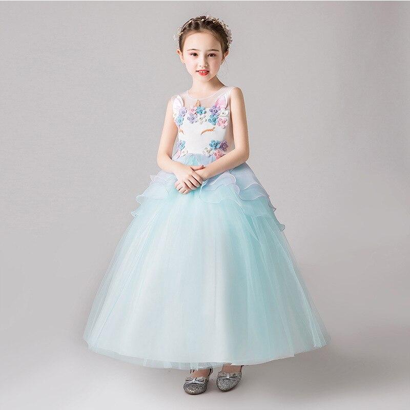 2019 Summer New Style Girls Princess Skirt Europe And America Unicorn Evening Gown Long Children Wedding Dress Performance Skirt