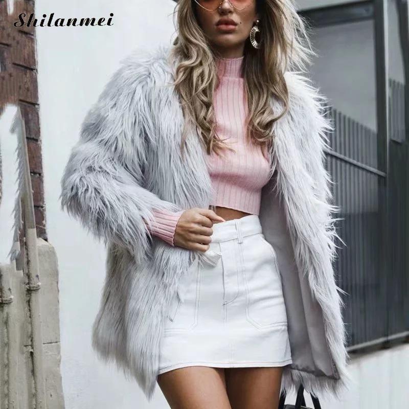 Fur Jacket Women Plus Size Outwear Women Long Sleeve Streetwear Fluffy Faux Fur Coat 2019 Fashion Winter Autumn Long Fur Coat