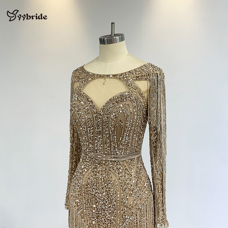 Yybride New BlingBling Beading Prom Dresses Mermaid Skirt Long Sleeves Crystals Party Dresses Bespoke Occasion Dresses